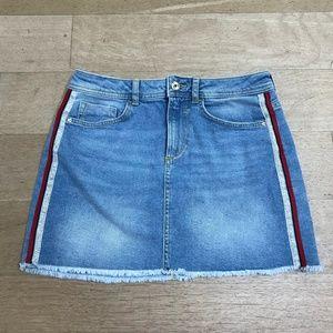 Zara Mid-Rise Denim Skirt